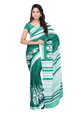 Petra Fab Lime Green Colored Faux Georgette Printed Saree
