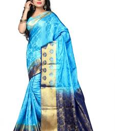 Buy Sky blue woven cotton silk saree with blouse cotton-silk-saree online