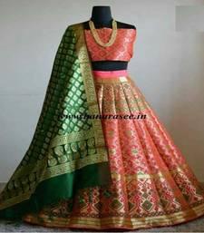 Buy Multicolor printed silk unstitched lehenga with dupatta lehenga-choli online