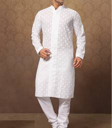 Buy white cotton poly embroidered kurta pajama kurta-pajama online