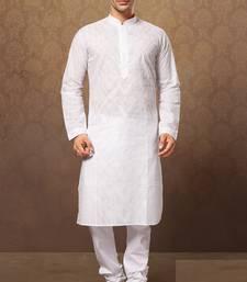 Buy white cotton embroidered kurta pajama kurta-pajama online