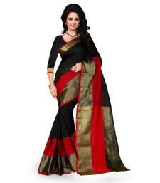 Buy Black plain polycotton saree with blouse below-1500 online