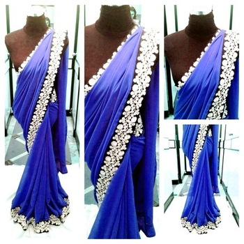 Blue Semi Georgette saree