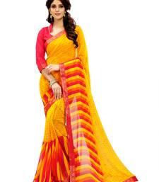 Buy Yellow printed faux georgette saree with blouse below-1500 online
