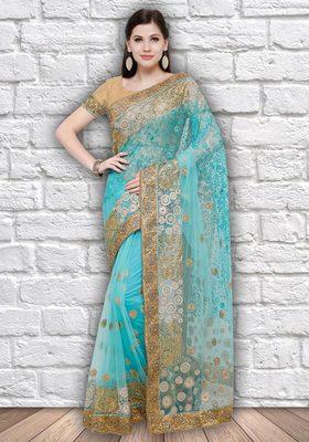 Blue embroidered net saree