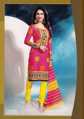 Radiant Pink Printed Cotton Dress Material D.No DP2326