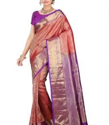 Buy Fuchsia plain pure silk saree with blouse kanchipuram-silk-saree online