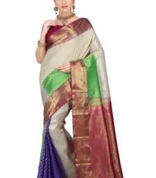 Buy Multicolour plain pure silk saree with blouse kanchipuram-silk-saree online