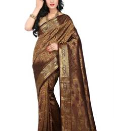 Buy Dark maroon plain pure mix saree with blouse kanchipuram-silk-saree online
