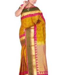 Buy Fuchsia and yellow plain pure silk saree with blouse kanchipuram-silk-saree online