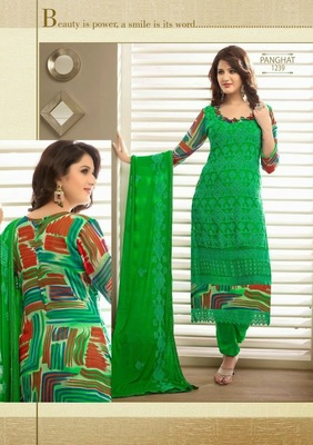 Lovely Green Karachi Dressmaterial with Digital Print
