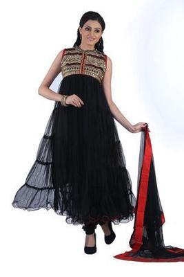 Designer Party Wear Black Net Readymade Anarkali Churidar Kameez with Dupatta