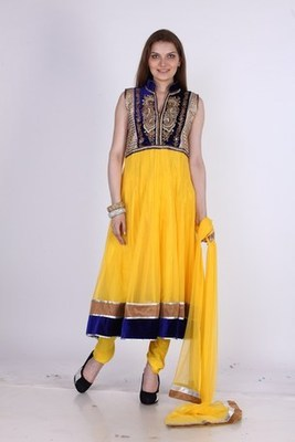 Designer Party Wear Yellow Net Readymade Anarkali Churidar Kameez with Dupatta