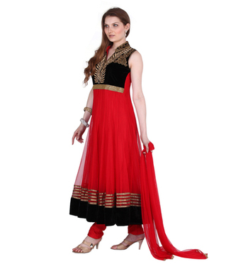 Designer Party Wear Black Net Readymade Anarkali Churidar Kameez with Dupatta