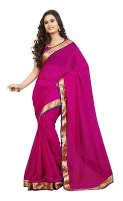 Magenta Border Worked Chiffon Saree With Blouse