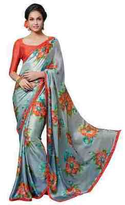 Grey Printed Satin,Chiffon Saree With Blouse