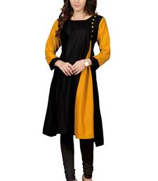 Buy Black plain rayon short-kurtis short-kurtis online
