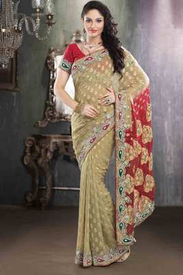 Cream georgette weaved & stone worked saree in red pallu & blouse