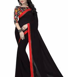 Buy Black printed georgette saree with blouse below-1500 online