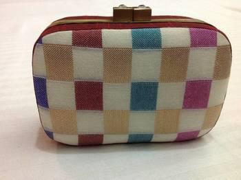 Multicolored checkered  box clutch