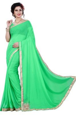Green plain lycra saree with blouse