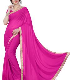 Buy Pink plain lycra saree with blouse below-400 online