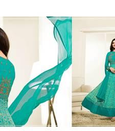 Buy blue embroidered georgette anarkali semi stitched salwar with dupatta anarkali-salwar-kameez online