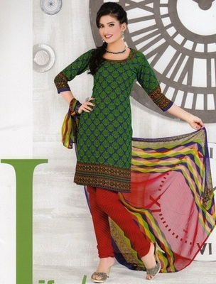 Trendy Green Printed Crepe Unstitched Dress Material D.No AN7010