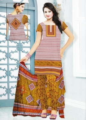 Trendy Multi Color Printed Crepe Unstitched Dress Material D.No MP7433