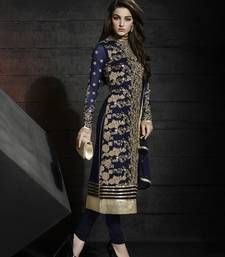 Buy Blue embroidered goeragtte unstitched salwar with dupatta dress-material online