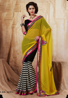 Designer Chiffon Saree In Double Shades With Stones Along With Matching Blouse.