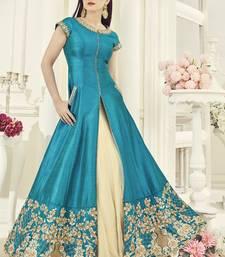 Buy Sky blue embroidered silk salwar sharara online