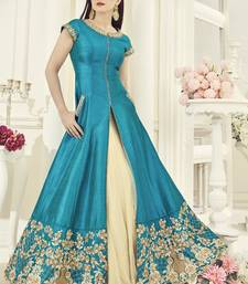 Buy Sky blue embroidered silk salwar party-wear-salwar-kameez online