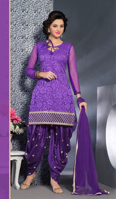 purple Fancy Embroidered Suits in designer style