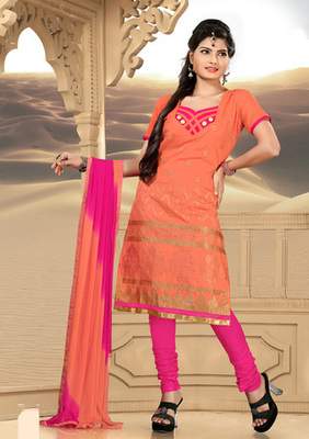 orange Printed Designer Suits with matching duppata