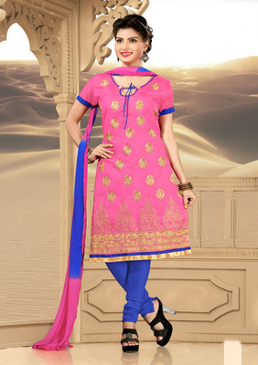 pink Prints Ladies Suits with matching duppata
