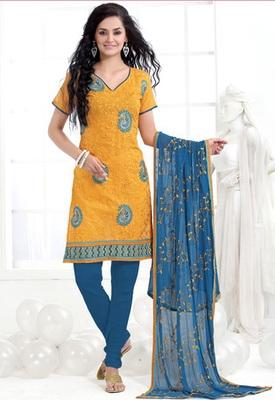 yellow Designer Salwar Kameez with matching duppata