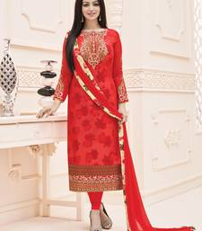 Buy Red embroidered faux georgette salwar with dupatta ayesha-takia-salwar-kameez online