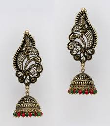 Buy Red  and  Green Color Oxidised Gold Plated Ear Cuff Jhumka Earrings ear-cuff online