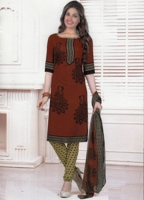 Dazzling Brown Printed Crepe Unstitched Dress Material D.No MA222
