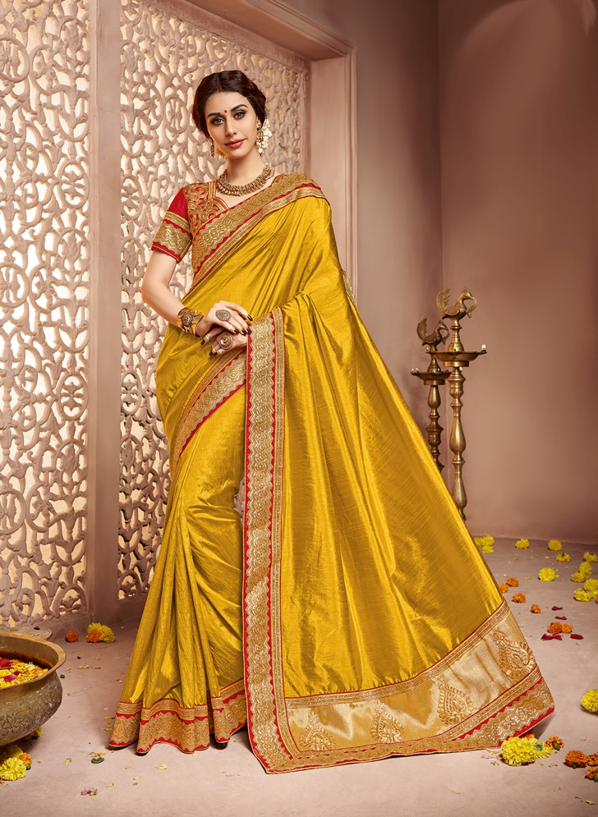 Dark Gold Embroidered Silk Saree With Blouse Wedding Online