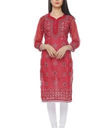 Buy Maroon embroidered georgette stitched chikankari-kurtis chikankari-kurti online