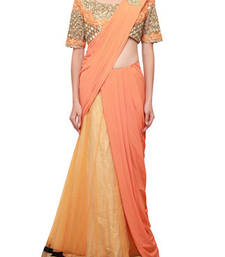 Buy Saree gown enhanced in beige and flame orange embellished in mirror embroidery gown-saree online