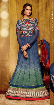 Blue Goergette Dress Material