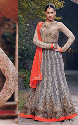 Grey Embroidered georgette semi-stitched salwar with dupatta