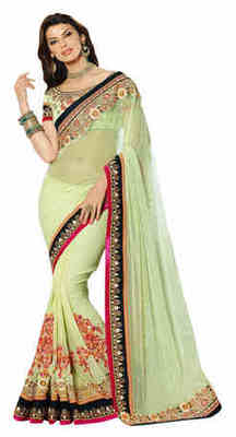 Green Embroidered Net,Pure Georgette Saree With Blouse