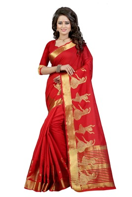 Red poly cotton saree with blouse
