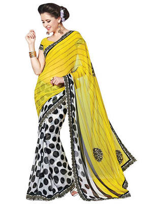 Off White Printed Chiffon Saree With Blouse