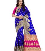 Buy Blue poly cotton saree with blouse