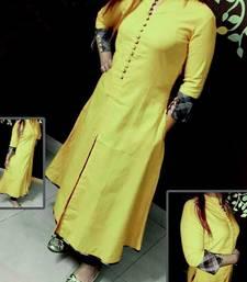 Buy Yellow plain stitched cotton-kurtis cotton-kurtis online